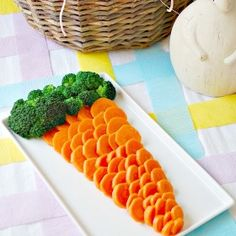 Love this! Instead of baby carrots, buy carrot chips and arrange like a giant carrot with a broccoli top.