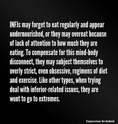 INFJ - It's the endless cycle. Ah well.- ha! How true! I'm bad at eating, but I've become much better about stopping what I'm doing, to eat.