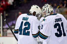 e3c4d7c3b San Jose Sharks forward Joel Ward congratulates goaltender Martin Jones on  his 31-save shutout
