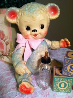 "I found this 1958 ""Sunny bear"" by sun rubber co. at gilleys antique mall this weekend for $5.00!!!!! These squeakers are hard to find and can sell for quite a bit when you occasionally do find them:) I was excited to bring him home and add him to my collection!!"