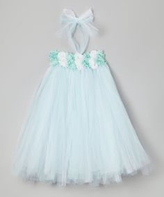 Look at this #zulilyfind! Light Green & White Flower Tutu Dress - Infant, Toddler & Girls #zulilyfinds