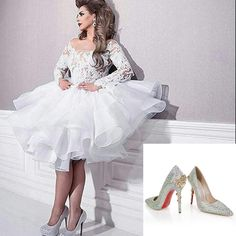 2016 Knee Length White Lace Wedding Ball Gowns Long Sleeves Tiers Hot Sale Bridal Wedding Gowns For Arabic Nigerian Dubai Women Cheap Wedding Dress Shops Wedding Dresses For Older Brides From Whiteone, $134.91| Dhgate.Com