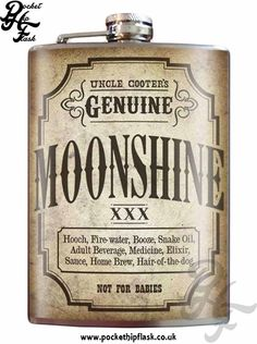 Art inspired stainless steel moonshine  hip flask @ The Pocket Hip Flask Company: