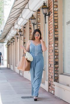Earnestyle: Birthday Blues // wearing a Maison Jules chambray jumpsuit