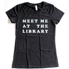 Meet Me At The Library T Shirt WOMENS Available in S M L XL and six... ($16) ❤ liked on Polyvore featuring tops, t-shirts, checkered shirt, print tees, collared shirt, checked shirt and fitted t shirts