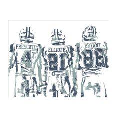 Dez Bryant Ezekiel Elliott Dak Prescott Dallas Cowboys Pixel Art Art Print  by Joe Hamilton 929dc9ff7