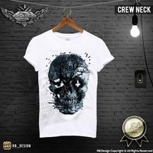 Mens T-shirt Unique Vintage Old Tree Skull RB Design Inverted Cross Top MD050