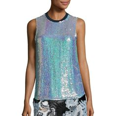 3.1 Phillip Lim Sequined Silk Blend Tank ($620) ❤ liked on Polyvore featuring tops, apparel & accessories, iridescent, blue sequin tank top, blue sequin top, 3.1 phillip lim top, sequin sleeveless top and sequin tank