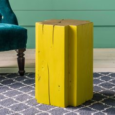 Cross Solid Wood Stool in Yellow - Side Tables - Tables - Furniture