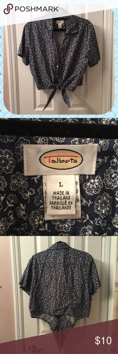 Floral Tie Waist Blouse This floral blouse from Talbots has a tie waist and buttons from waist to chest, leaving a nice open neckline.  🌿Excellent condition🌿 Talbots Tops Button Down Shirts
