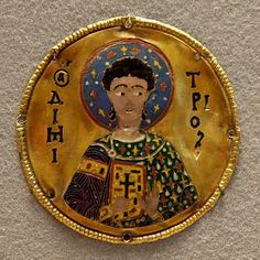 St. Demetrios. Byzantine medallion from the frame of an icon with St. Gabriel, housed in the Djumati Monastery, Georgia. Nine others medallions from the same frame are now in the Metropolitan Museum of Art.