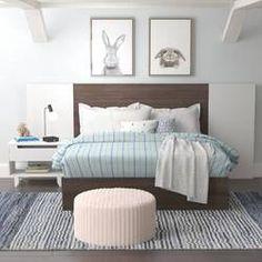 Mack & Milo Porrima Platform 4 Piece Bedroom Set | Wayfair 5 Piece Bedroom Set, Wood Bedroom Sets, Kids Bedroom Sets, Bedroom Furniture Sets, White Platform Bed, Platform Bedroom, Double Bed Designs, Vinyl Panels, Wood Bed Design