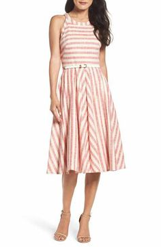 Nordstrom - Women's Eliza J Stripe Fit & Flare Midi Dress Flare Dress, Dress Up, Casual Dresses For Women, Clothes For Women, Calf Length Dress, Event Dresses, Nordstrom Dresses, Striped Dress, Fit And Flare