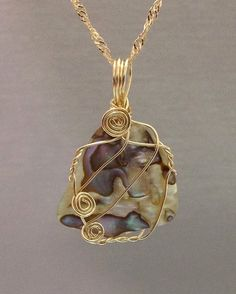 Natural Abalone pendant 14k gold filled wire by OritWhiteLight