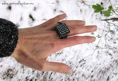 Бисерное кольцо Небо и Земля, вариант 1, дизайнер Мачихина Наталья.
