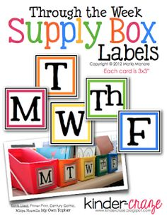 FREE bins labels for each day of the week. Co-ordiante perfectly with a set of 5 boxes from Lakeshore