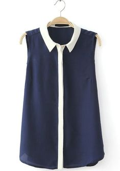 Navy Contrast Lapel Sleeveless Buttons Blouse