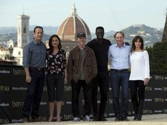 """Tom Hanks, left, Sidse Babett Knudsen, director Ron Howard, Omar Sy, writer Dan Brown and Felicity Jones pose at a photo call for their movie """"Inferno"""" in Florence, Italy, on May 11.  Andrew Medichini, AP"""