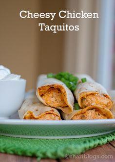Cheesy Chicken Taquitos   www.shariblogs.com #mexican #chicken #taquitos