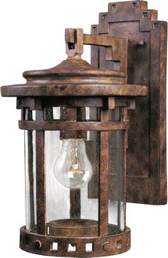 Maxim 3131 1 Light Tall Outdoor Wall Sconce from the Santa Barbara DC Col Sienna / Seedy Glass Outdoor Lighting Wall Sconces Outdoor Wall Outdoor Wall Sconce, Outdoor Wall Lighting, Wall Sconce Lighting, Wall Sconces, Lighting Ideas, Garage Lighting, Outdoor Ceiling Fans, Outdoor Wall Lantern, Outdoor Walls