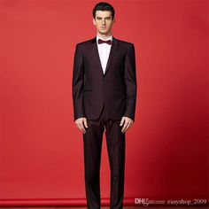Wine Red Suit Suit The Groom Wedding Fashion Men'S Wedding Suit Suit Suit Two Sets Of The Groom Suits TuxedosJacket+Pants+Bow Tie Mens Prom Suits Mens Suites From Easyshop_2009, $86.92  Dhgate.Com