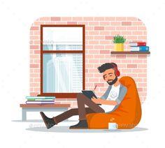 пример современного интерьра Vector Illustration of Young Man Using Tablet