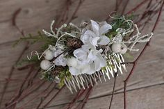 Winter flower hair comb floral hair comb