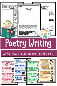 Poetry Writing Pack - poetry is a great way to explore language and increase vocabulary. Use the templates to model examples and devices to use in poetry. Word Wall cards are available for Teaching Reading Strategies, Teaching Poetry, Writing Strategies, Teaching Activities, Writing Resources, Teaching Writing, Primary Teaching, Teaching Resources, Writing Posters
