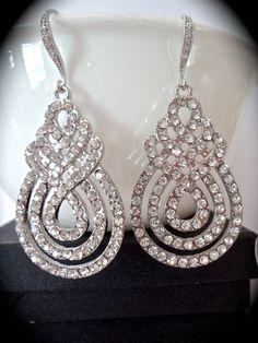 Large rhinestone statement earrings  Crystal by QueenMeJewelryLLC