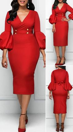Red dress with high waist and V-neck high waist V-neck red dress HOT SALES beautiful dresses, pretty dresses, holiday fashion . - Source by Office Dresses Elegant Dresses Classy, Classy Dress, Beautiful Dresses, Pretty Dresses, Cute Dress Outfits, Classy Work Outfits, Casual Dresses, Office Dresses, Red Dress Outfit