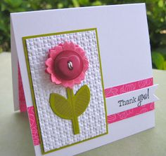 lovely card from Wahine Inks... hot pink and olive on bright white...ike this layout, the texture in the main panel, amd the felt & button flower...