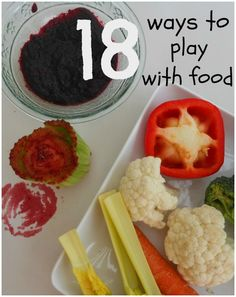 Who said not to play with your food?!  18 ways to make mealtimes fun and educational.  Utilize the dinner table as an opportunity for #sensory play, to learn about math, science, art and more! #feedingtherapy #pickyeaters