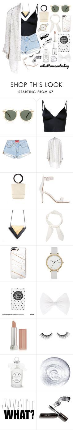 """Mostly White"" by erikapriscilla ❤ liked on Polyvore featuring Karen Walker, T By Alexander Wang, Paychi Guh, Simon Miller, Gianvito Rossi, Chloé, Casetify, Skagen, Maybelline and Essie"