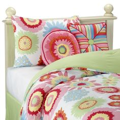 Love these bright colors! Use big girl bedding to make custom crib bedding. Pillows for glider.