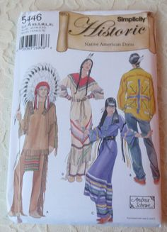 Simplicity 5446 Sewing Pattern Historic Young Native American Dress Sizes Adult XS-S-M-L-XL