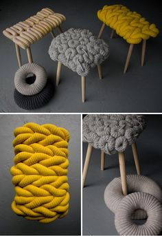 Hmm, now here's an idea : These fabulous knitted stools are from British textile designer Claire-Anne O'Brien via style-files Deco Ethnic Chic, Diy Furniture, Furniture Design, Retro Furniture, Deco Originale, Ideias Diy, Home Accessories, Knit Crochet, Crochet Pillow