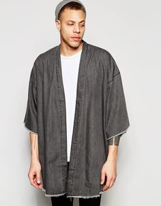 Buy ASOS Denim Kimono with Frayed Hem at ASOS. Casual Outfits, Men Casual, Fashion Outfits, Mens Fashion, Fashion Menswear, Light Jacket, Kimono Fashion, Denim, Men's Kimono