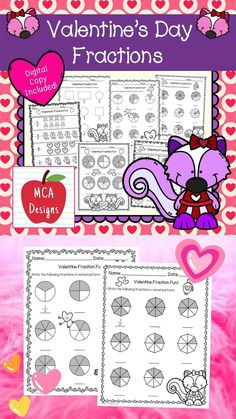 This product features various no-prep worksheets to help your students practice identifying and writing basic fractions. This packet is designed to be used as mini-lessons, supplements to larger lesson plans, extra practice, or as a math center. Each worksheet is accented with cute Valentine's Day themed graphics. This product includes both a print and DIGITAL copy. The digital copy is great for DISTANCE LEARNING! #teacherspayteachers #tpt #fractions #valentine