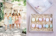 Pastel macaron earrings. Dresses by Donna Morgan