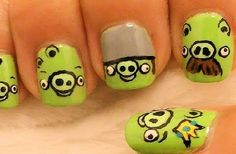 Easy Nail designs for short nails | Glam Bistro Super cute angry bird pigs