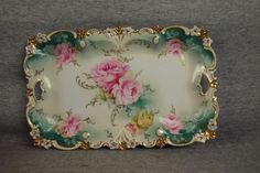 R.S. Prussia dresser tray with roses, 11 1/2