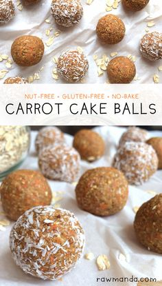 Carrot Cake Bites {Nut-Free, Gluten-Free, Low-Fat} Perfect healthy snack to grab on the go! Raw Manda Carrot Cake Bites {Nut-Free, Gluten-Free, Low-Fat} Perfect healthy snack to grab on the go! Raw Desserts, Gluten Free Desserts, Easter Desserts, Easter Cake, Vegan Treats, Vegan Snacks, Vegan Dinners, Healthy Sweets, Healthy Snacks