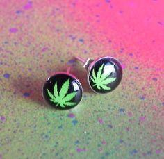 Marijuana Pot Leaf Stainless Steel Stud Earrings Jewelry Mens 8mm Green 420