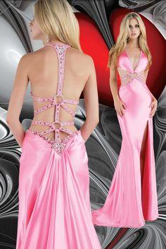 Beaded Satin Backless Sexy Pink Evening Dress