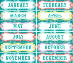 "Shabby Chic Monthly Headliners - Headliners add instant appeal to any classroom! Use them as titles for bulletin board displays. Line them up along a wall or above a chalkboard. Create classroom calendars. Measures approx. 5"" x 18"". 12 pieces per pack."