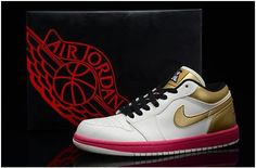 low priced eeacc 2806c Nike Air Jordan I 1 Retro Mens Shoes Low Limited White Gold Mens Shoes Sale,