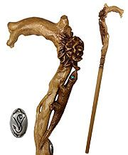 Lizard and Flower Artisan Intricate Handcarved Cane