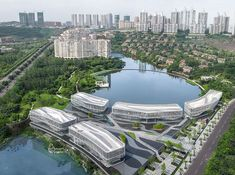Hassell surround palm island with water courtyard in Chongqing