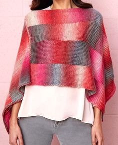 Free Knitting Pattern for Bargello Poncho -Easy poncho designed for multi-color yarn and knit in two rectangles with intarsia columns. Point can also be worn in front. Small, Medium/Large, 2X-Large/3X-Large Designed by Patty Nance for Red Heart