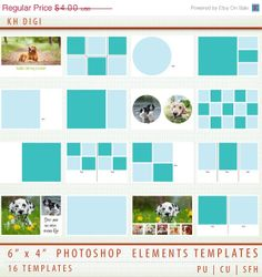 "50 OFF SALE 16 Digital Scrapbook Templates  6"" x 4"""